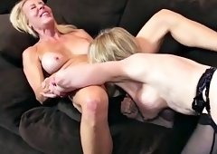 Lucky guy stuffs two blonde milfs in all holes