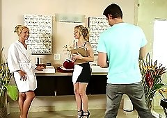 Nuru massage with Katerina Kay and Lucy Tyler pleasing their man