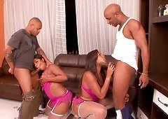 Adriana and her ebony girlfriend seduce a couple of randy fellows