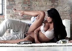Black haired honey is opening up her legs to get rammed