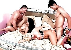 Foursome with big titty sluts ends in cumshots