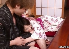Unshaved hungry pussy of real Japanese geisha China Mimura gets drilled missionary