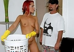 Skinny Redhead House Cleaner With A Twist