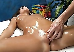 Oiled up Whitney Westgate fucked on a massage table