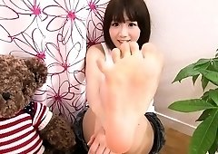 Spread pussy Japanese teen gives foot fuck uncensored