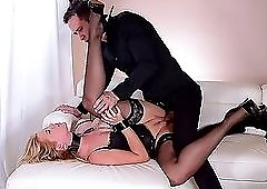 Collared and cuffed submissive used hard by his big dick