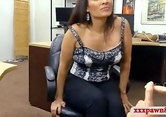 Huge boobs woman drilled by pawn keeper in the backroom
