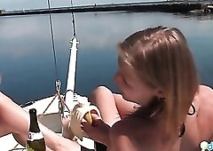 Small tits teens in bikinis on a boat