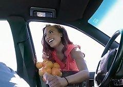 Cute ebony fucks stranger to sell oranges