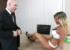 Comely yellow-haired MILF Kristal Summers in office