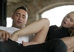 Blonde likable Lina Napoli gives footjob to turn her man on