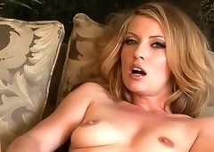 Skinny blonde milf with glass dildo