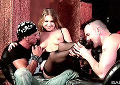 Biker blonde Lucy Heart double penetrated at a bar after hours
