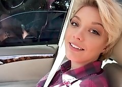 Pretty short haired girl fucks for money in POV