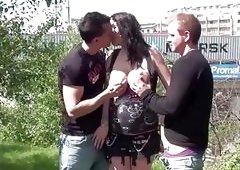 Pregnant big tits star Stella Fox PUBLIC threesome