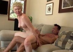 Short haired Dalny Marga likes to fuck with a young dude