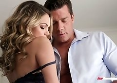 Lubricious babe Athena Faris is fucked hard by horny boyfriend