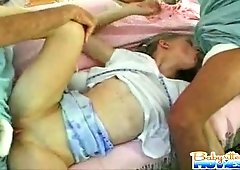Amazing Kyla is getting nailed by diaper boys
