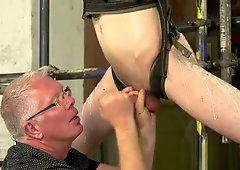 Mature master wax torments his slave and sucks his cock