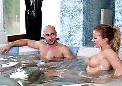 A busty blonde with a nice rack is fucked in the bathroom