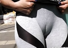 Best Round and also Firm Tooshie & Deep Cameltoe Teen, Walking
