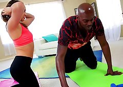Lex Steele does yoga with a white chick then fucks her