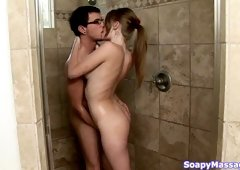 Sexy well stuck brunette masseuse takes shower with nerdy buddy