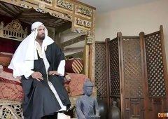 Arab sheikh fucks super sexy bitch Jemma Valentine and feeds her with sperm