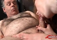 Old Hairy Geezer And Teen Slut