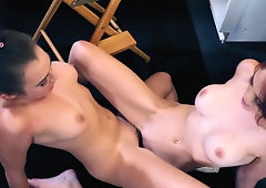 Two sexy ballerinas get naked in the dressing room and male love