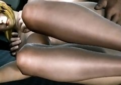 Voluptuous 3D bombshell plays out her interracial fantasy