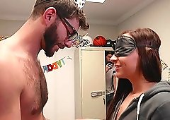 Jessie Lynne surprises two horny guys by fucking with them together